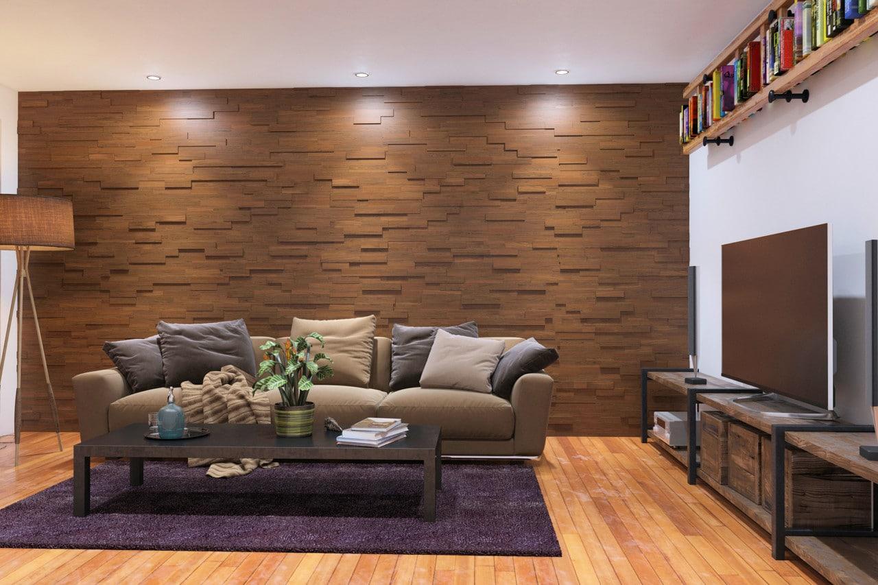Acacia wood paneling mosaic interior 3d mosaic wood wall - Paredes de piedra para interiores ...