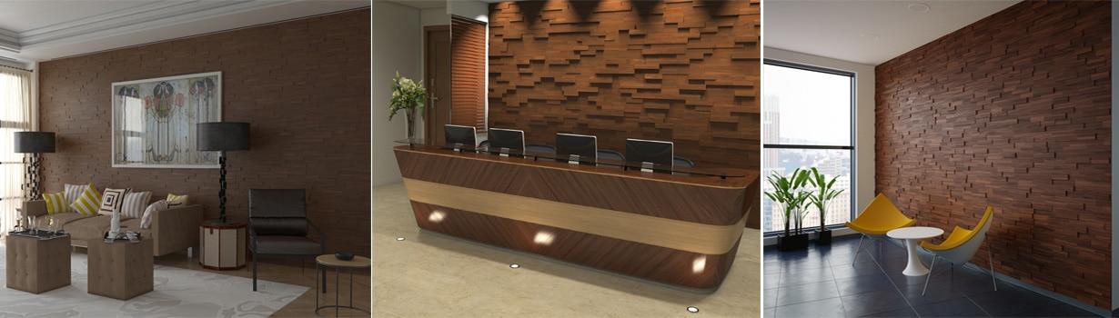 mosaic 3d wood panels - Wall Panels Interior Design