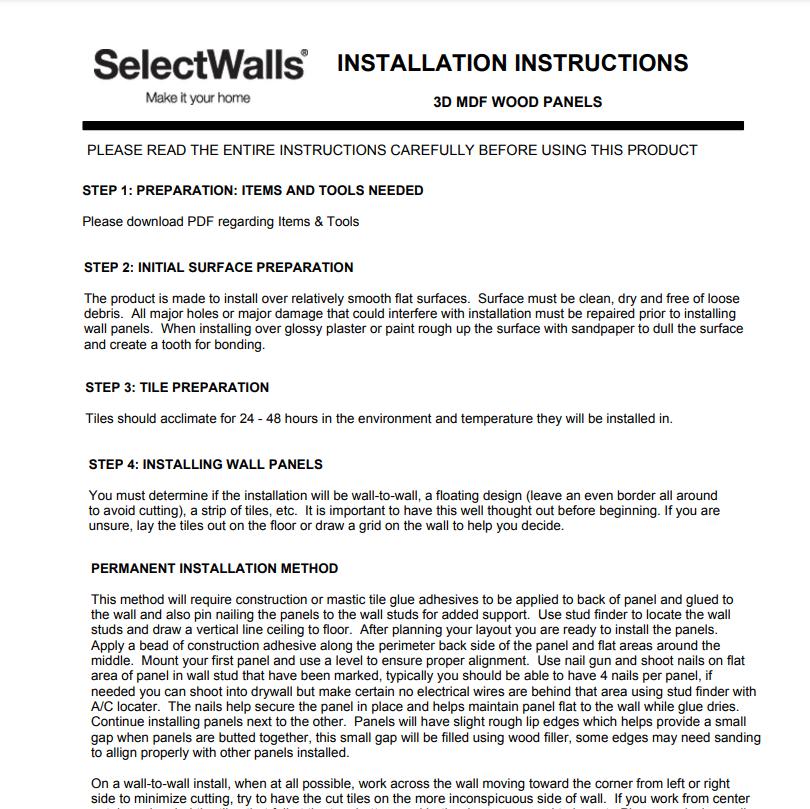 SelectWalls MDF Installation Instructions